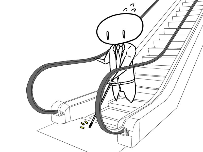 片手杖の人がエスカレーターから降りようとしている様子のイラスト