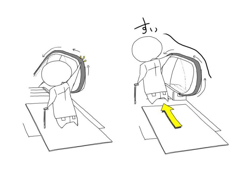 片手杖の人がエスカレーターに乗るときの様子のイラスト